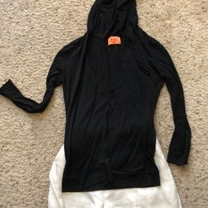 Black cotton hooded top